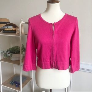 Lilly Pulitzer pink cropped knit cardigan